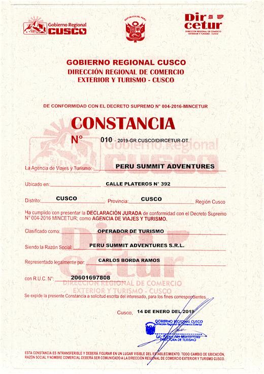 Peru Summit Adventures License